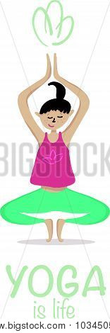 Yoga asana vector illustration. Set of vector girl yoga asana on white background.