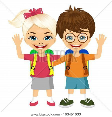 two fashion small children with backpacks