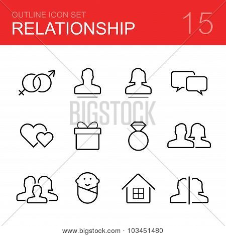 Relationship vector outline icon set