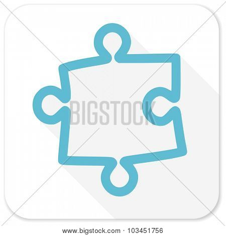 puzzle blue flat icon