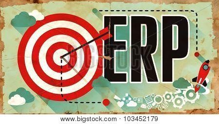 ERP Word on Poster in Grunge Design.