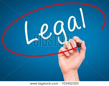 Man Hand writing Legal with black marker on visual screen.