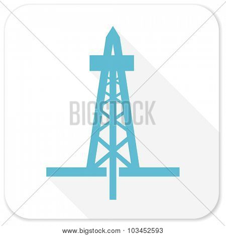 drilling blue flat icon