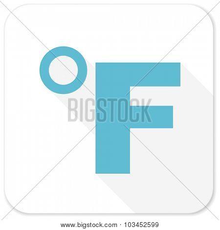 fahrenheit blue flat icon