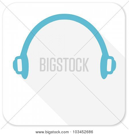 headphones blue flat icon