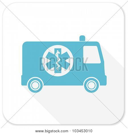 ambulance blue flat icon