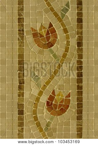 Ornamental, floral ceramic tiles background