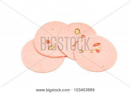 ham sausage or rolled bologna slices isolated on white background.