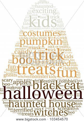 Halloween Candy Shaped Word Cloud
