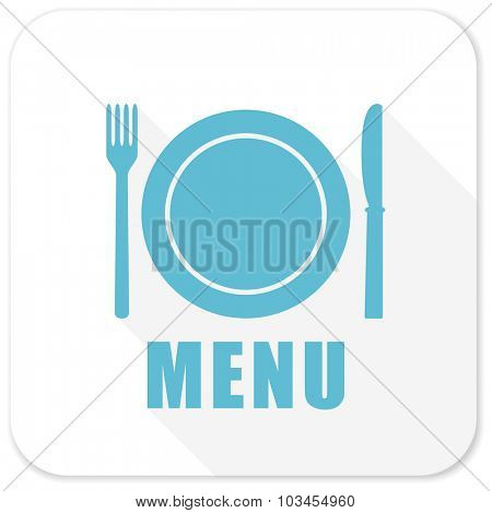 menu blue flat icon