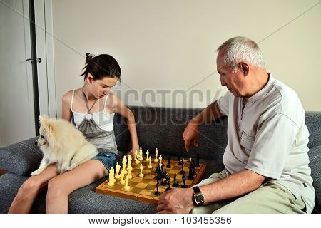 Granddaughter With A Dog And Grandpa Playing Chess
