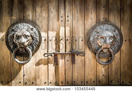 Antique Door Knocker Shaped Lion's Head.