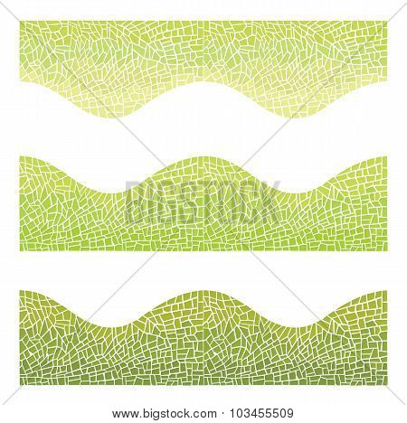Seamless Background Wave Mosaic Of Yellow And Green Colors