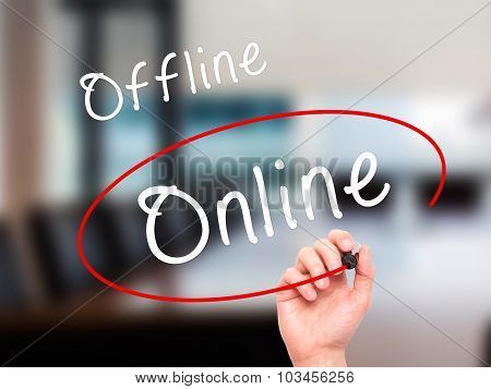 Man Hand writing and choosing Online instead of Offline with black marker on visual screen.