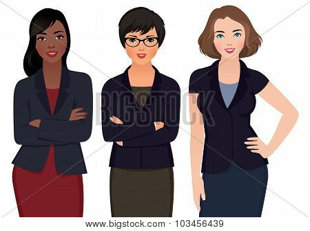Business Woman Multi Ethnic In Suits Isolated On A White Background