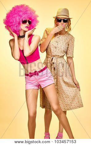 Beauty fashion hipster woman, stylish sisters, friends, afro