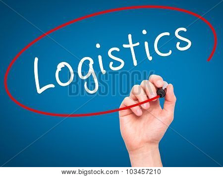 Man Hand writing Logistics with black marker on visual screen.