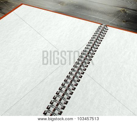 3D Open Blank Notebook On Table Paper Texture