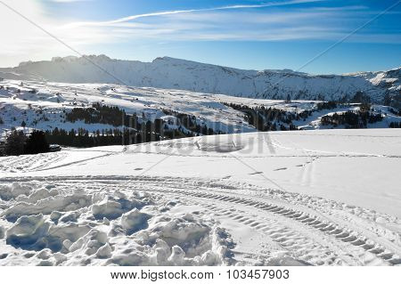 Ski Slopes On The Italian Alps.