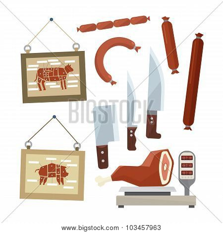 Meat and Butchers Flat Design Icons Set