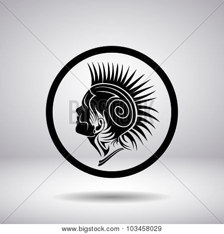 Silhouette Of The Head Of Punk In The Circle
