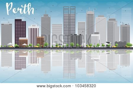 Perth skyline with grey buildings, blue sky and reflection. Vector illustration