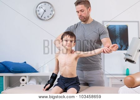 Small Boy During Physical Exercises