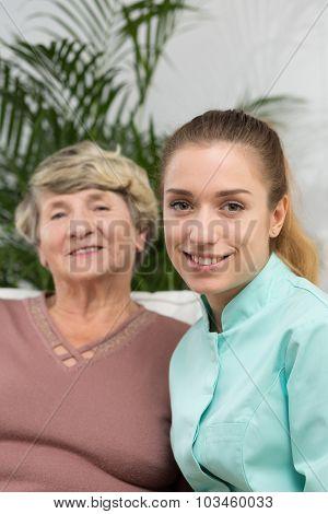 Elder Lady And Nurse