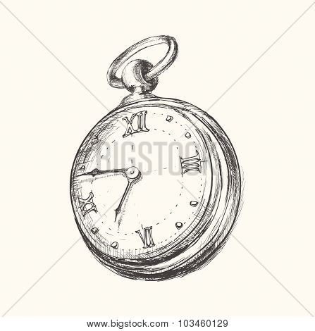 Hand drawn vintage watch clock sketch vector illustration