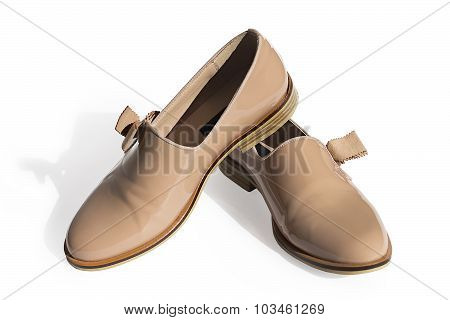 Beige Shoes From A Patent Leather