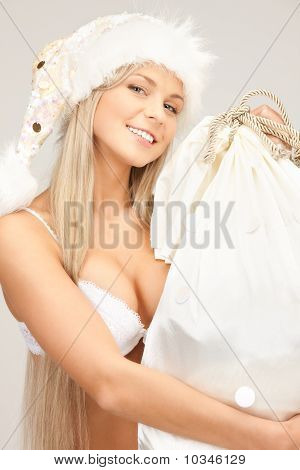 Cheerful Santa Helper Girl With Big Bag