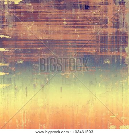 Grunge texture with decorative elements and different color patterns: yellow (beige); brown; purple (violet); blue