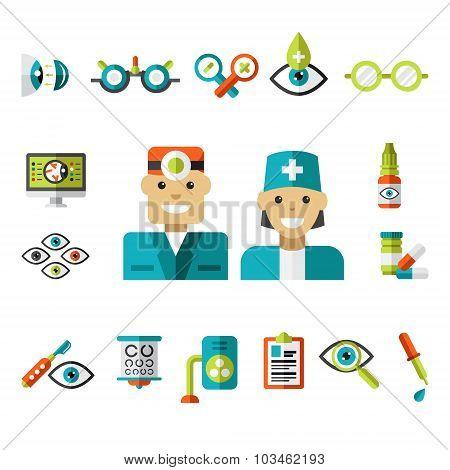 Optical icons, Ophthalmology Icons Set