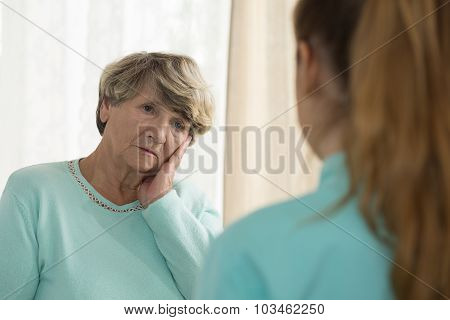Depressed Woman Talking With Psychologist