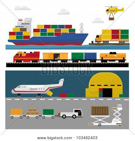 Transportation and Shipping Icons Flat Set