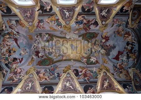 LJUBLJANA, SLOVENIA - JUNE 30: The fresco on the ceiling of the Cathedral dedicated to St. Nicholas in Ljubljana, Slovenia on June 30, 2015