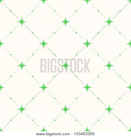 Geometric Seamless Pattern With Dots And Stars.