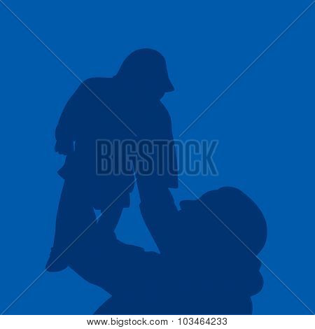 P_2694.epsmother and son stylized vector silhouette stock vector