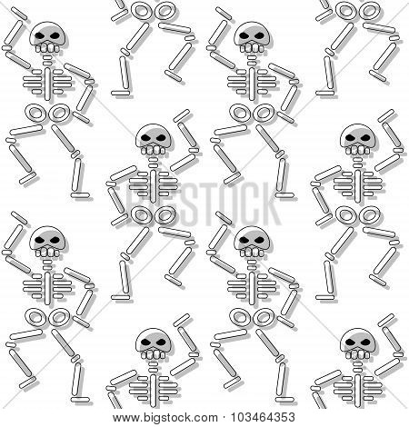 repeating pattern with skeleton on white background