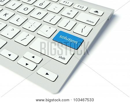 Keyboard And Blue Solution Button, Help Concept