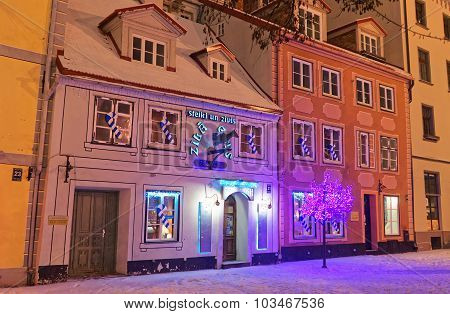 Buildings Of Old Riga With Christmas Decoration