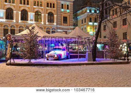 Christmas Market Square In Old Riga At Night