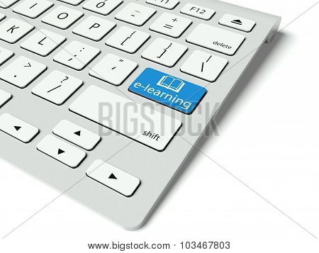 Keyboard And Blue E-learning Button, Internet Concept
