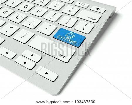 Keyboard And Blue Coffee Break Button, Internet Concept