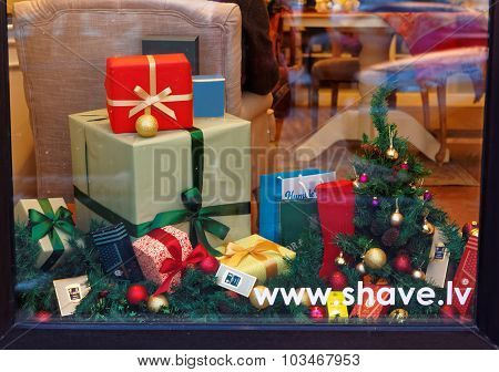 Decorated Christmas Window With Gift Boxes