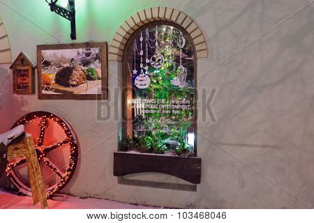 Fragment Of A Restaurant In Riga Decorated For Christmas