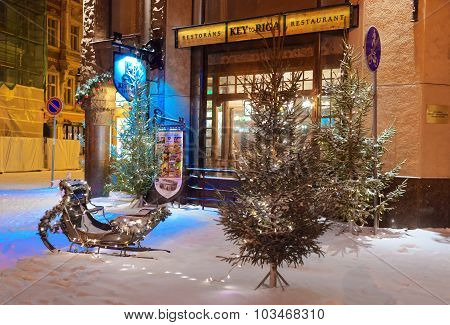 Old Town Of Riga Decorated For Christmas And New Year
