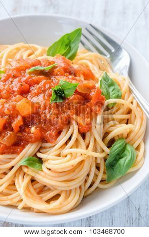 Bowl of pasta with red chunky tomato sauce and fresh basil leaves, traditional italian mediterranean cuisine