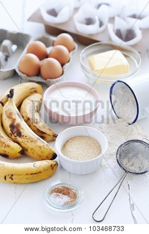 Baking Ingredients for a healthy banana cake loaf muffin