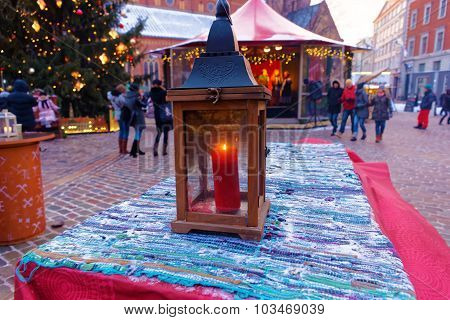 Picture Of A Lantern At A European Christmas Market